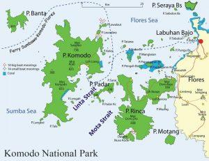 コモド島観光、地図、空港からの移動